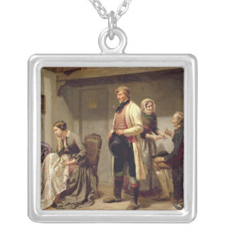 A toast to the engaged couple square pendant necklace
