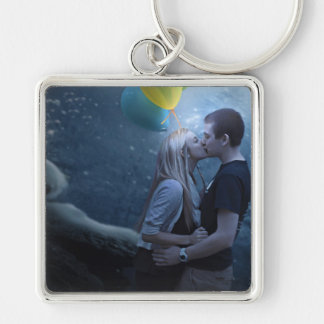 A Touch of Color Silver-Colored Square Key Ring