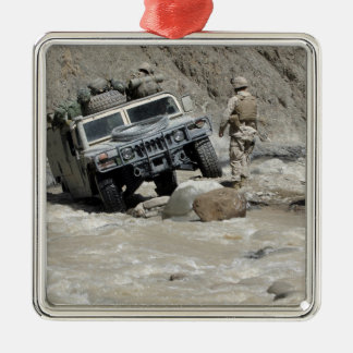 A US Marine guiding the driver of a Humvee Silver-Colored Square Decoration