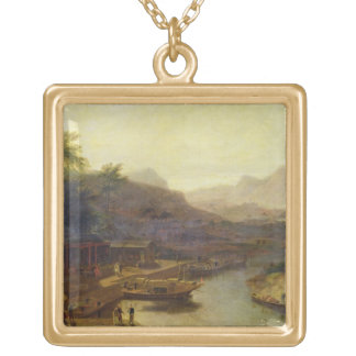 A View in China: Cultivating the Tea Plant, c.1810 Gold Plated Necklace