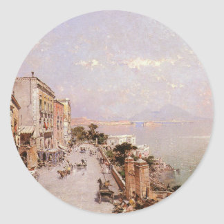 A View of Posilippo, Naples by Franz Richard Classic Round Sticker