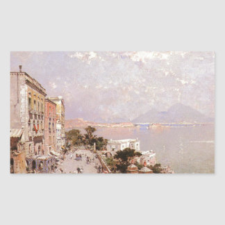 A View of Posilippo, Naples by Franz Richard Rectangular Sticker