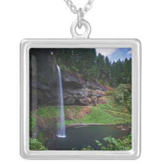 A view of South Falls in Silver Falls State Park Silver Plated Necklace