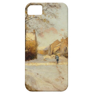 A Village Street in Winter by Alfred Sisley iPhone 5 Cases