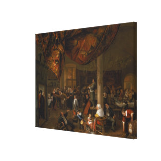 A Village Wedding Feast with Revellers Canvas Print