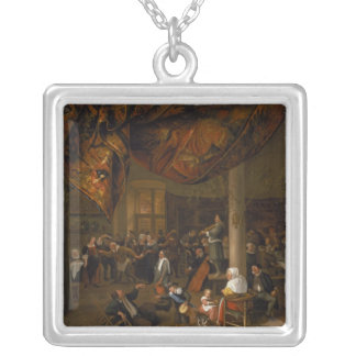 A Village Wedding Feast with Revellers Silver Plated Necklace