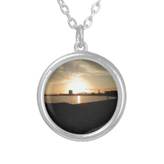 A walk on the beach round pendant necklace