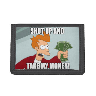A wallet with humorous picture