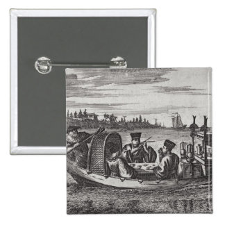 A Wealthy Mandarin Dining in a Boat, illustration Buttons