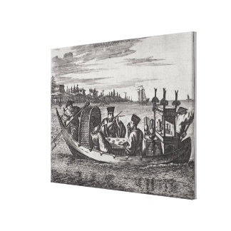 A Wealthy Mandarin Dining in a Boat, illustration Gallery Wrapped Canvas