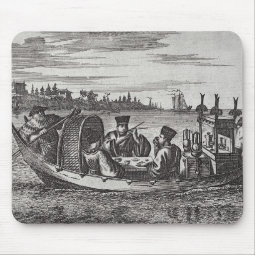 A Wealthy Mandarin Dining in a Boat, illustration Mouse Pads