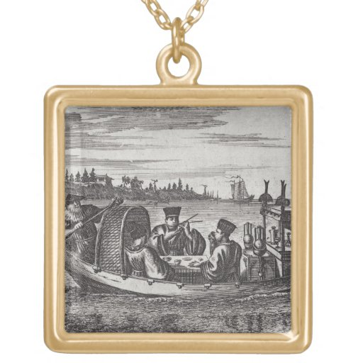 A Wealthy Mandarin Dining in a Boat, illustration Custom Necklace