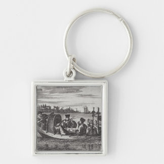 A Wealthy Mandarin Dining in a Boat, illustration Silver-Colored Square Key Ring