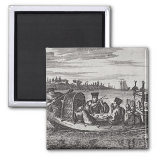 A Wealthy Mandarin Dining in a Boat, illustration Square Magnet