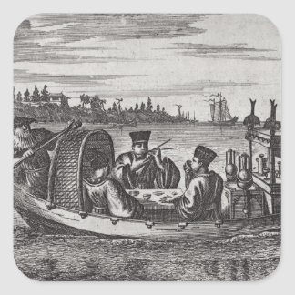 A Wealthy Mandarin Dining in a Boat, illustration Square Sticker