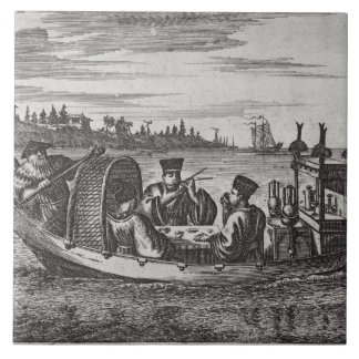A Wealthy Mandarin Dining in a Boat, illustration Tile
