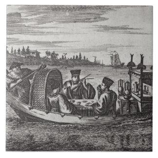 A Wealthy Mandarin Dining in a Boat, illustration Ceramic Tiles