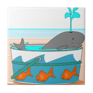 A Whale in a pail Small Square Tile