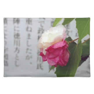 A white, a pink flower and Japanese characters Placemats