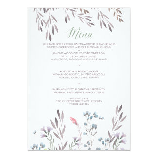 A Wildflower Wedding Menu Card
