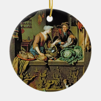 A Woman and a Fish Peddler, 1713 (oil on panel) Round Ceramic Decoration