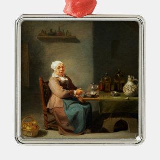 A Woman in a kitchen Silver-Colored Square Decoration
