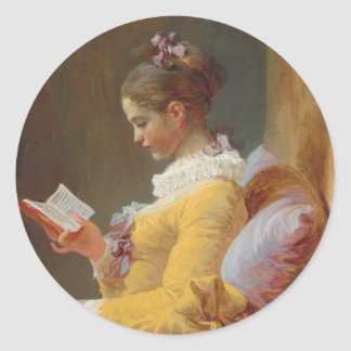 A Young Girl Reading, The Reader by J. Fragonard Classic Round Sticker