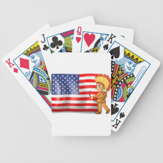 A young Indian and the USA flag Bicycle Playing Cards
