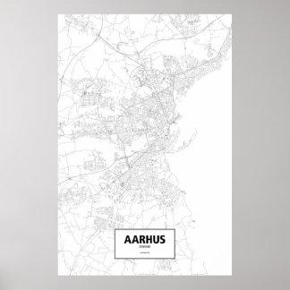Aarhus, Denmark (black on white) Poster