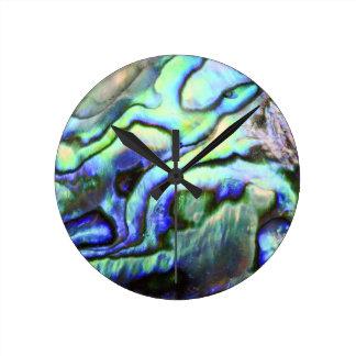 Abalone shell green blue paua round clock