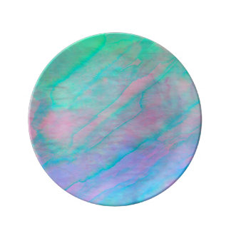 Abalone Shell Watercolor mother-of-pearl Shellfish Porcelain Plate