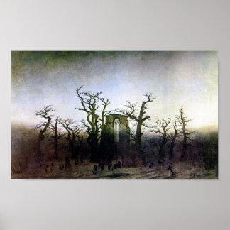 Abbey in an Oak Forest by Caspar David Friedrich Poster