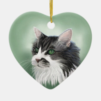 Abbie domestic long hair cat, digital portrait ceramic heart decoration