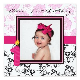 Abbie's First Birthday 13 Cm X 13 Cm Square Invitation Card