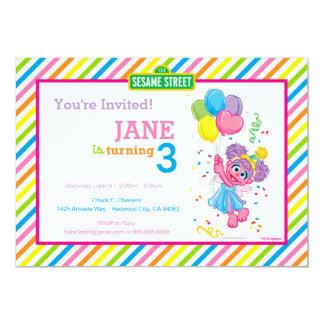 Abby Striped Birthday 13 Cm X 18 Cm Invitation Card