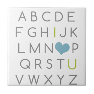 ABC I love you. green and light blue Small Square Tile