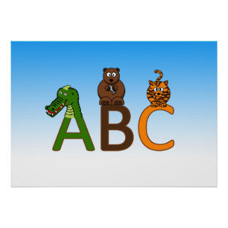ABC letters cute cartoon animals illustration Poster