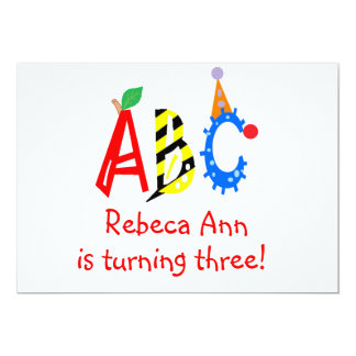 ABC Turning 3 Third Birthday Party Invitaitons 13 Cm X 18 Cm Invitation Card
