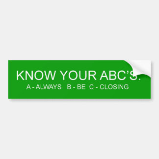 ABCs Bumper Sticker