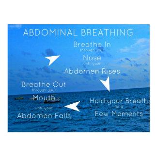 Abdominal breathing or diaphragmatic breathing post card