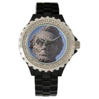 Abe Lincoln  Rhinestone Black Enamel Watch