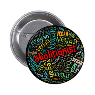 """Abolitionist Vegan"" Word-Cloud Mosaic 6 Cm Round Badge"