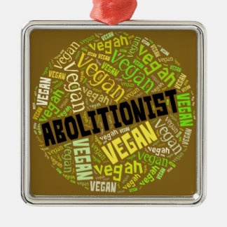 """Abolitionist Vegan"" Word-Cloud Mosaic Christmas Ornament"