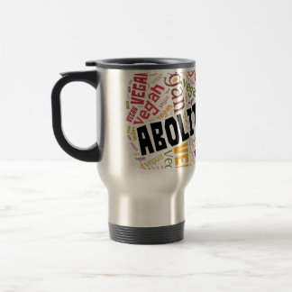 """Abolitionist Vegan"" Word-Cloud Mosaic Travel Mug"