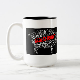 """Abolitionist Vegan"" Word-Cloud - Piggy & Quote Two-Tone Coffee Mug"