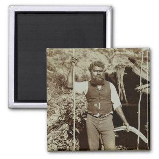 Aborigine with a Boomerang, c.1860s (sepia photo) Magnet