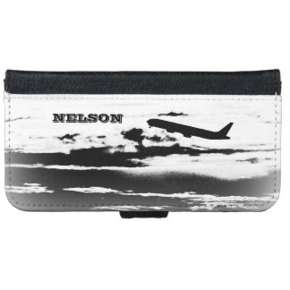 Above the Clouds/Jet Airplane Pilot Personalized iPhone 6 Wallet Case