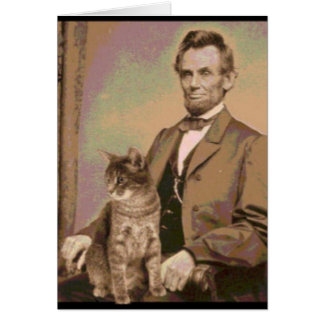 """Abraham Lincoln and his cat """"Dixie"""" Card"""
