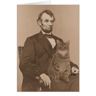 """Abraham Lincoln and his cat """"Gloria"""" 2 Card"""