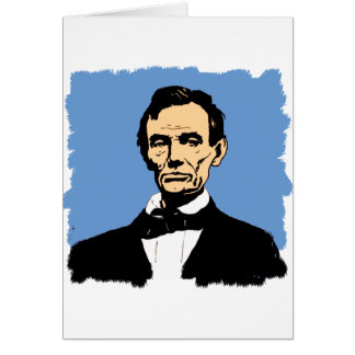 Abraham Lincoln Illustration on Blue Card